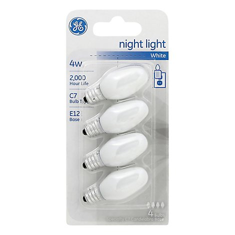 GE Lightbulb Night Light White 4 Watt - Each