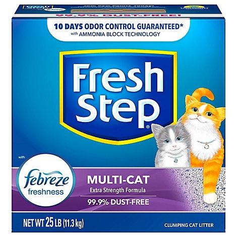 Fresh Step Cat Litter Clumping Odor Shield With Frebreze Fresh Clean Scent Box - 25 Lb