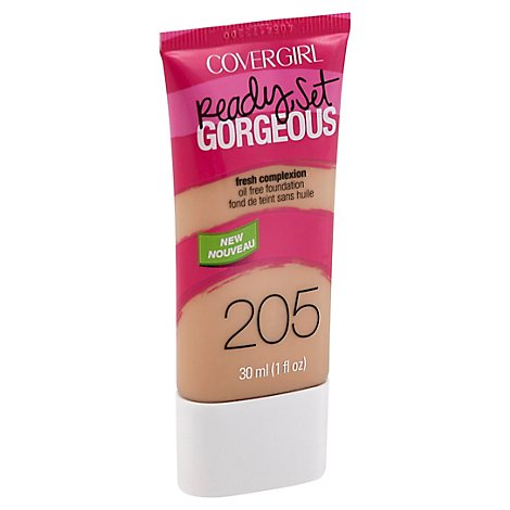 COVERGIRL Ready Set Gorgeous Foundation Oil Free Fresh Complexion Natural Beige 205 - 1 Fl. Oz.