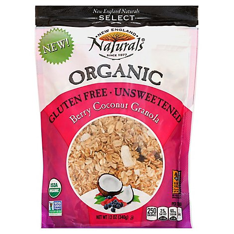 New England Naturals Organic Granola Unsweetened Gluten Free Berry Coconut - 12 Oz