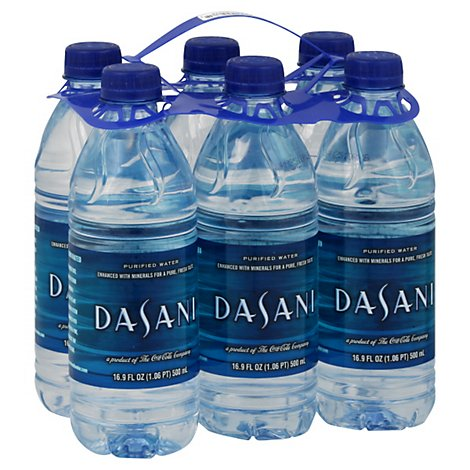 Dasani Water Purified Enhanced With Minerals Bottled 6 Count - 16.9 Fl. Oz.
