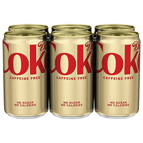 Diet Coke Soda Pop Cola Caffeine Free Mini Cans 6 Count - 7.5 Fl. Oz.