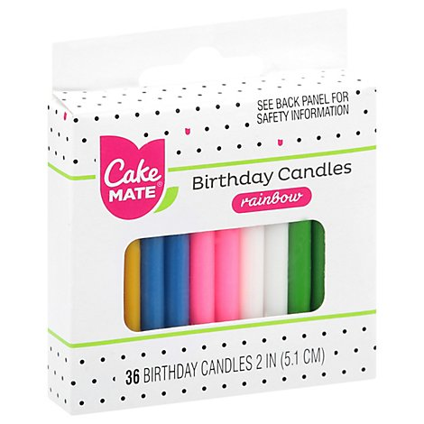 Cake Mate Candles Party Round Assorted - 36 Count