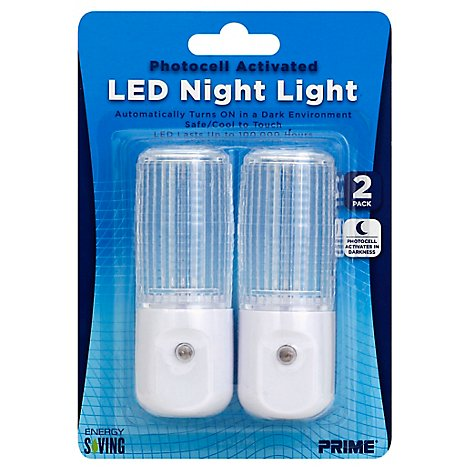 Prime Night Light LED Photocell Activated - 2 Count