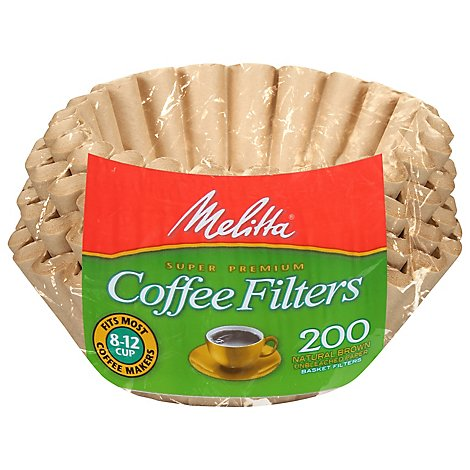 Melitta Coffee Filters Basket Natural Brown Unbleached Paper - 200 Count