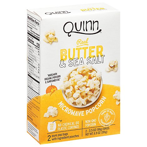 Quinn Popcorn Microwave Butter & Sea Salt - 2-3.5 Oz