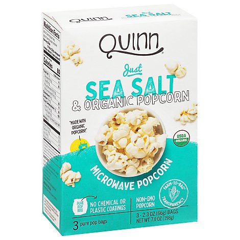 Quinn Popcorn Microwave Organic Just Sea Salt - 3-2.3 Oz