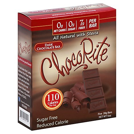 ChocoRite Chocolate Bar Sugar Free Dark - 5-1 Oz
