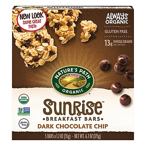 Natures Path Organic Granola Bars Gluten Free Dark Chocolate Chip - 6.2 Oz