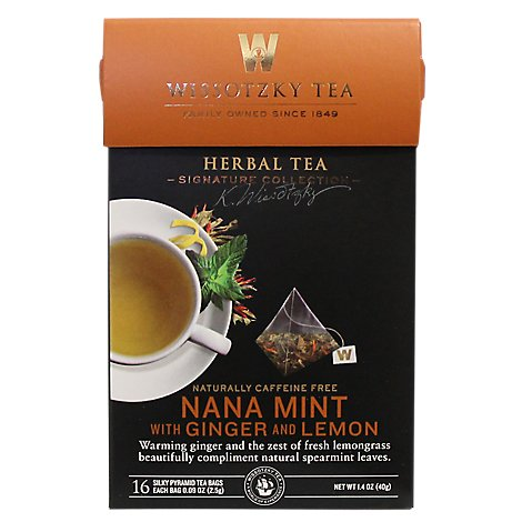 Wissotzky Tea Signature Collection Herbal Tea Nana Mint With Ginger And Lemon - 16 Count