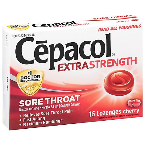Cepacol Extra Strength Lozenges For Sore Throat & Cough Drop Cherry - 16 Count
