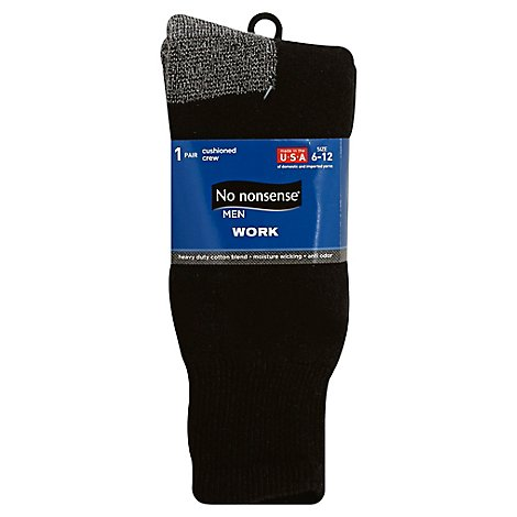 No Nonsense Mens Work Sock Black 6 12 - Each