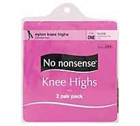 No nonsense Knee Highs Nylon Comfort Top Reinforced Toe Nude - 2 Count