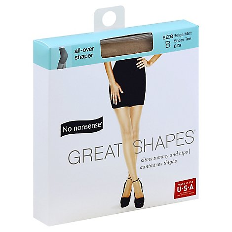 No nonsense Pantyhose All-Over Shaper Great Shapes Sheer Toe Beige Mist - Each