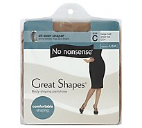 No nonsense Pantyhose All-Over Shaper Great Shapes Sheer Toe Beige Mist Size C - Each