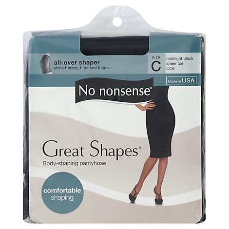 No nonsense Pantyhose All-Over Shaper Great Shapes Sheer Toe Midnight Black Size C - Each