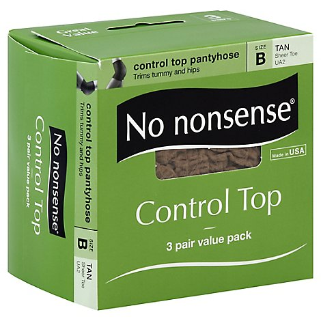 No Nonsense Control Top Pantyhose Tan Sheer Toe B - 3 Pair