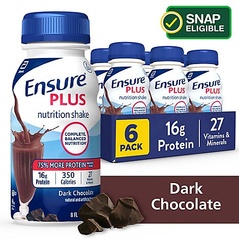 Ensure Plus Nutrition Shake Ready To Drink Dark Chocolate 6-8 Fl. Oz.