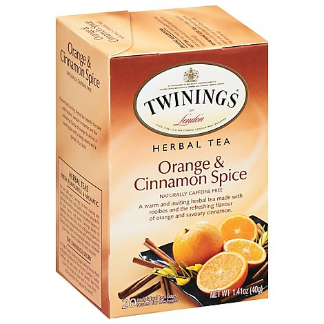 Twinings of London Herbal Tea Caffeine Free Orange & Cinnamon Spice - 20 Count