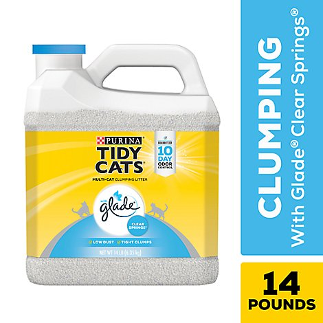 Tidy Cats Cat Litter Clumping For Multiple Cats With Glade Clear Springs Jug - 14 Lb