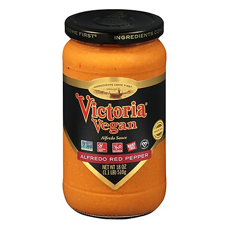 Victoria Vegan Sauce Alfredo Vegan Roasted Pepper - 18 Oz