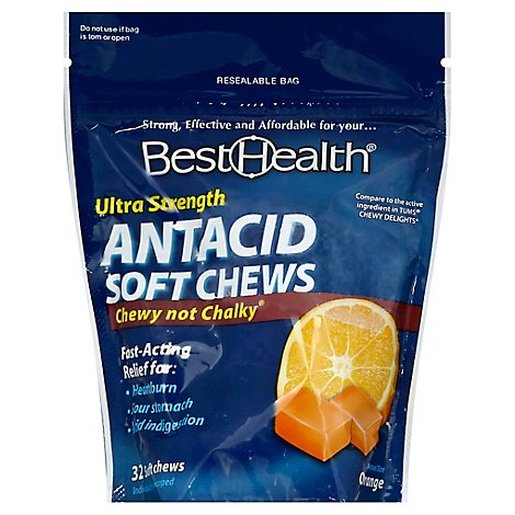 Best Health Antacid Ultra Strength Soft Chews Orange - 32 Count