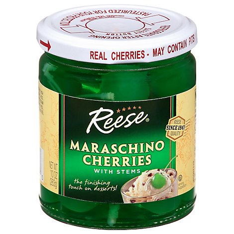 Reese Cherries Maraschino with Stems Green - 10 Oz