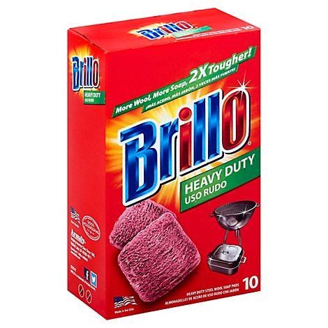 Brillo Estracell Soap Pads Steel Wool Heavy Duty - 10 Count