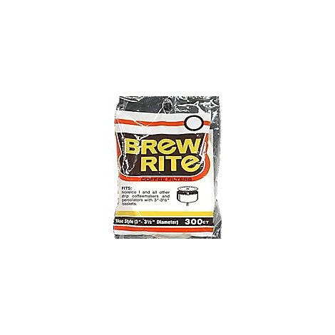 Brew Rite Coffee Filters Disc Style Paper 3.5 Inch - 300 Count
