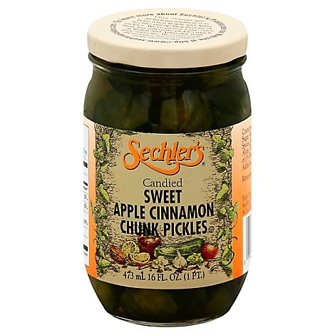 Sechlers Pickles Candied Pickles Apple Cinnamon Chunk Sweet - 16 Fl. Oz.