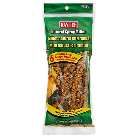 Kaytee Pet Food Bird Treat Natural Spray Millet Pouch - 6 Count