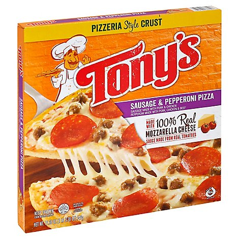 Tonys Pizzeria Pizza Sausage With Pepperoni Frozen - 19.38 Oz