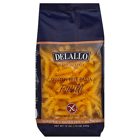 DeLallo Pasta Gluten Free Corn & Rice No. 27 Fusilli Bag - 12 Oz
