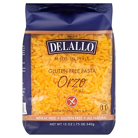 DeLallo Pasta Gluten Free Corn & Rice No. 65 Orzo Bag - 12 Oz