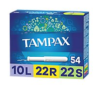 Tampax Tampons 10 Light 22 Regular 22 Super Absorbency Backup Protection Unscented - 54 Count