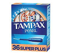 Tampax Pearl Tampons Super Plus Absorbency Leak Guard Protection Unscented - 36 Count