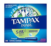 Tampax Pearl Tampons Plastic Super Absorbency Fresh Scent - 36 Count