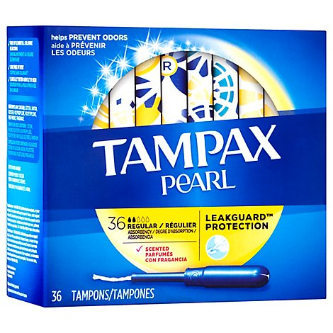 Tampax Pearl Tampons With LeakGuard Regular Absorbency Leak Guard Protection Scented - 36 Count