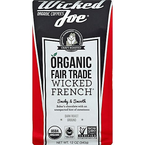 Wicked Joe Coffee Organic Fair Trade Ground Dark Roast Wicked French - 12 Oz