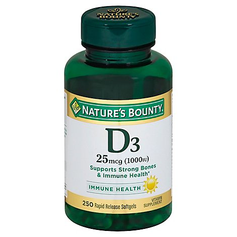 Natures Bounty Vitamin Supplement Softgels D3 25 mcg 1000 IU - 250 Count