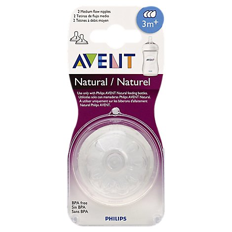 Avent Nipples Natural Medium Flow 3 Months + - 2 Count