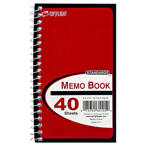 Top Flight Standards Memo Book 6x4 Inches 40 Sheets - Each
