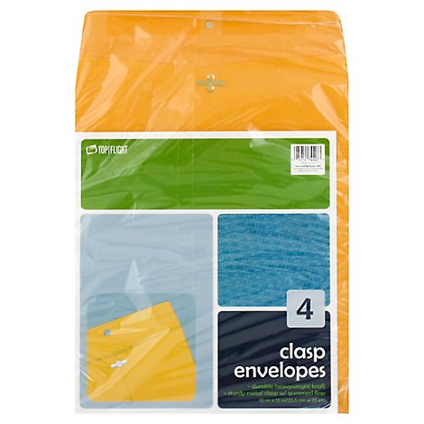 Top Flight Envelopes Clasp - 4 Count