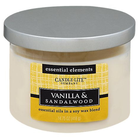 Candle-lite Candle 3 Wick Vanilla & Sandalwood - Each
