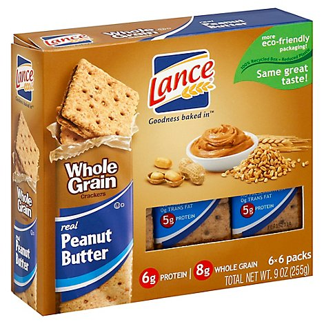 Lance Cracker Sandwiches Whole Grain Peanut Butter - 6 - 9.1 Oz