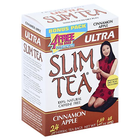 Slim Tea Herbal Tea Caffeine Free Cinnamon Apple - 24 Count
