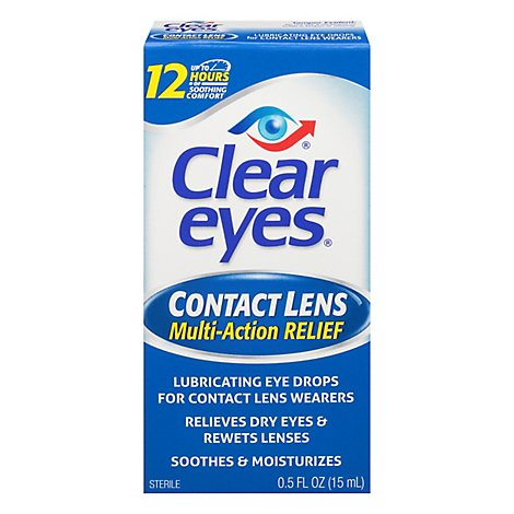 Clear Eyes Eye Drops Contact Lens Multi-Action Relief - 0.5 Fl. Oz.