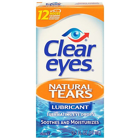 Clear Eyes Eye Drops Lubricant Natural Tears - 0.5 Fl. Oz.