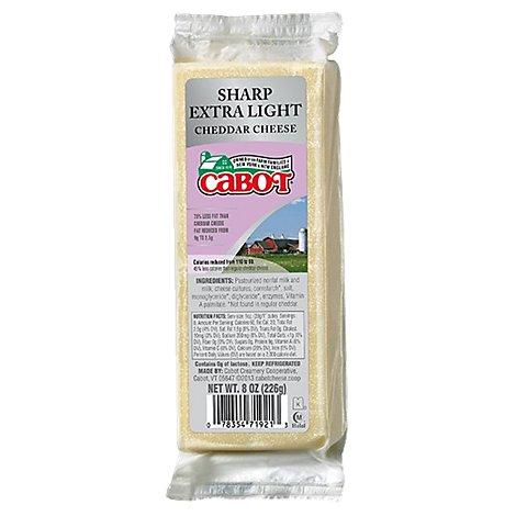 Cabot White Cheddar Cheese Rf 75% - 8 Oz