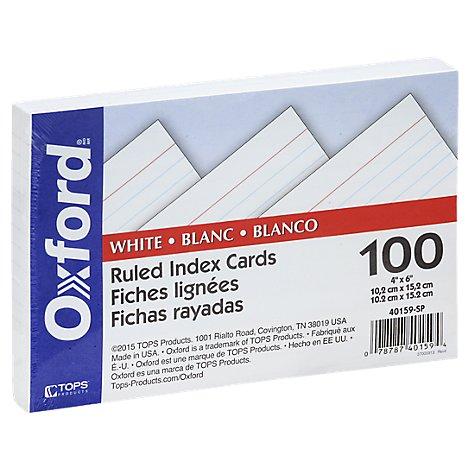Oxford Index Card Ruled 4x6 - 100 Count